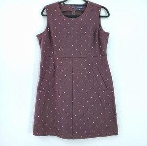 Lands End Brown Polka Dot Print Sleeveless Dress